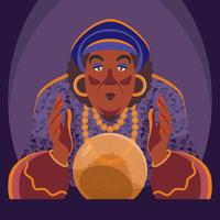 Gypsy Fortune Teller With Crystal Ball Illustration