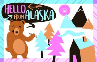 Carte postale du vecteur de l'Alaska