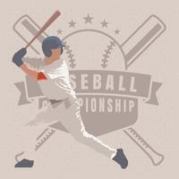 Baseball Batter Emblem Illustration