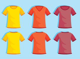 Colored Blank T-shirt Template On Blue Vector