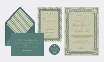 Art deco bröllopskort
