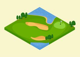 Golfplatz Loch mit Bunker und Wasser Vektoren