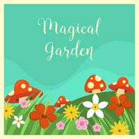 Illustration vectorielle de plat magique jardin