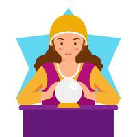Fortune teller cartoon illustration