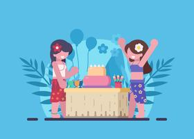 Hawaiian Themed Birthday Party Illustration