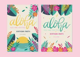 Vector de cartão de aniversário polinésio