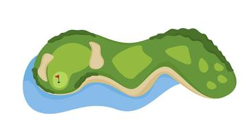 Campo de golfe buraco com vetores de bunker e água