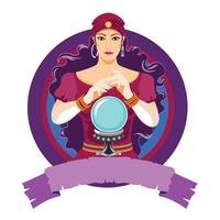 Vektor illustration av lycka teller kvinna läser framtiden på magisk kristall boll