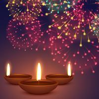 diwali diya con ilustración de fondo de fuegos artificiales