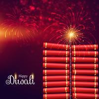 barstende crackerbom voor gelukkig diwali festival