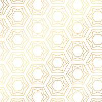 Stjärn- och hexagonformar guldmönster bakgrund. Gyllene backgr