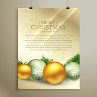 Weihnachtsfliegerschablonendesign mit realistischer Kugeldekoration