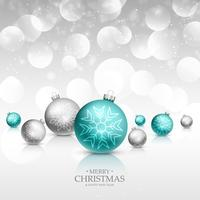 Tarjeta de felicitación de la celebración de Navidad con bolas de Navidad realista un
