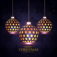 saudação de Natal de luxo com decoração de bolas de Natal dourado