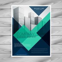 design de modelo de folheto azul empresa geométrica