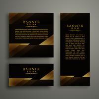 conception de carte bannière sombre modèle doré premium