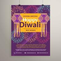 belle conception de flyer joyeux diwali avec lampes suspendues. Diwali g
