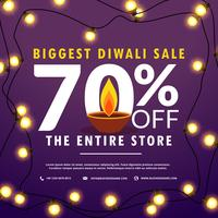 diwali festival sale discount and offers banner with light bulbs