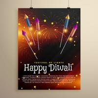 diwali festival folder sjabloon met vliegende rocket crackers en f