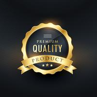 Producto de calidad premium diseño de etiqueta dorada.