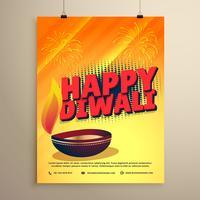 Happy Diwali Festival Gruß mit Diwali und Feuerwerk