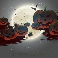enge halloween-achtergrond met vliegende pompoenen