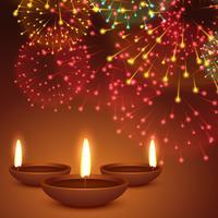 sfondo di fuochi d'artificio con diwali diya