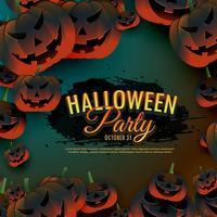 Halloween-partijachtergrond met enge pompoenengrens