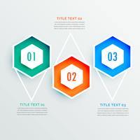 Forma hexagonal elegante diseño infográfico de tres pasos.