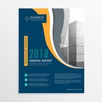 Plantilla de vector de diseño de folleto de informe anual azul moderno moderno