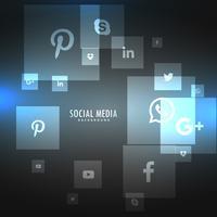 Symbole der sozialen Netzwerke auf grauem Hintergrund