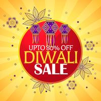 diwali sale beautiful background with hanging lamps and paisley