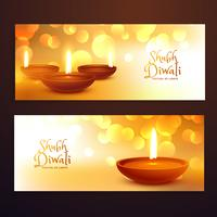 awesome set of diwali festival banners with diwali on golden bac