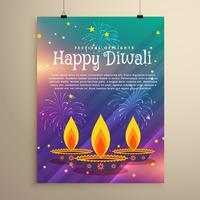 feliz diwali festival panfleto saudação modelo com três diya um