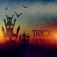 hemsökt halloween slott med fladdermöss