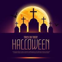 cartel de la tumba de Halloween con la luna