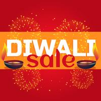diwali sale celebration background with diya and fireworks