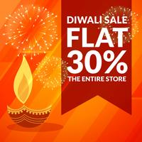 diwali season discount and sale banner with diya and fireworks