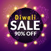 amazing diwali sale banner with lights and fireworks
