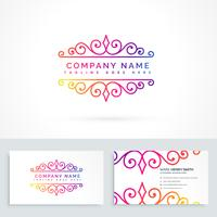 floral ornament logo design with business card template