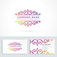 floral ornament logo-ontwerp met sjabloon voor visitekaartjes