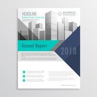 blaue Broschüre Flyer Designvorlage mit geometrischen Formen