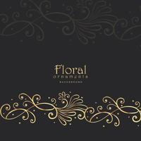 élégant floral doré sur fond sombre