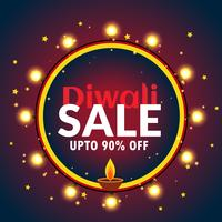 beautiful diwali sale banner with light bulbs and diya