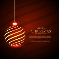 goldener hängender Weihnachtskugelentwurf für Ferienzeit