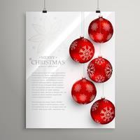 Plantilla elegante de la tarjeta de felicitación del festival de Navidad con bolas rojas