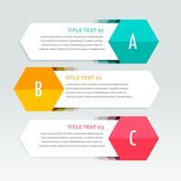 drei Schritte bunte Infografiken Vorlage
