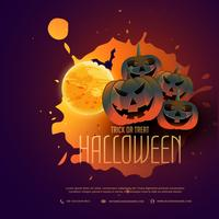 design de cartaz de abóboras de halloween feliz com lua