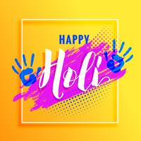 yellow background with paint hand and colorful paint for holi fe