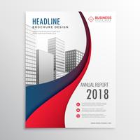 modern red and blue wave business brochure template design